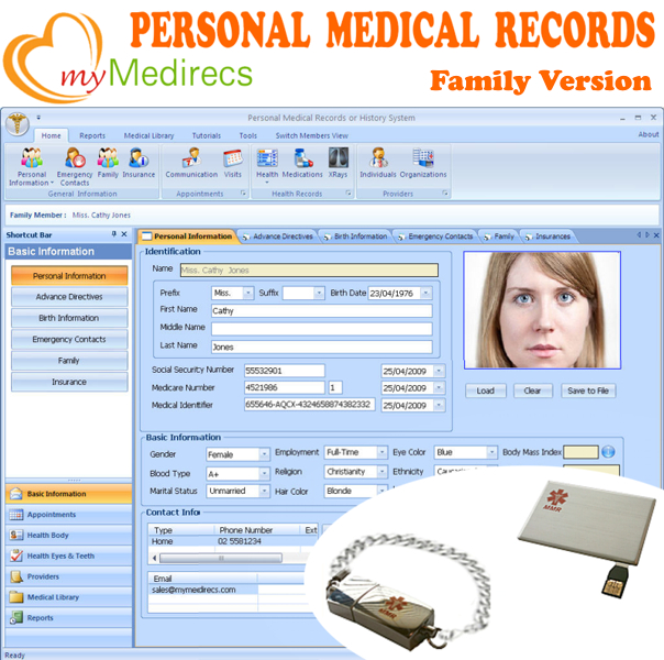 Click to view myMedirecs Personal Health Records screenshots
